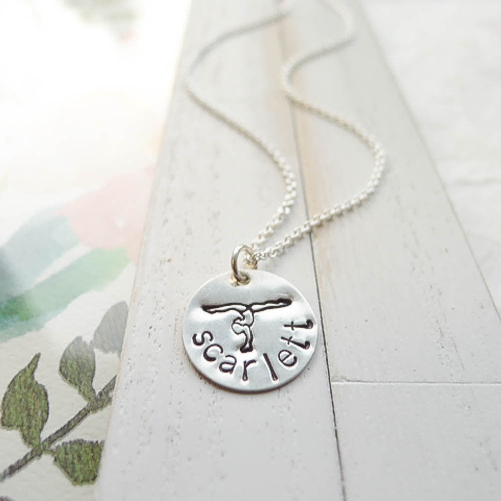 Personalized Gymnastics Necklace in Sterling Silver