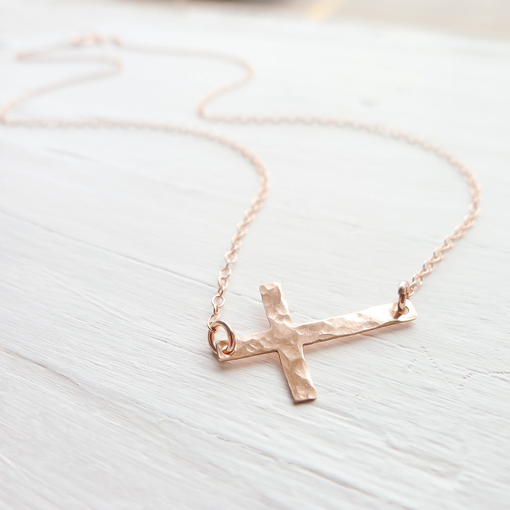 Sideways Cross Necklace {silver, gold, or rose gold}