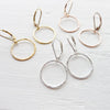 Hammered Hoop Leverback Earrings