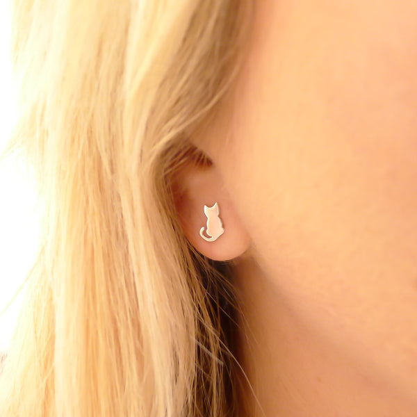 Silver Cat Stud Earrings