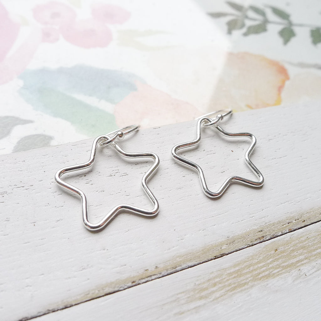 Wire Star Dangle Earrings