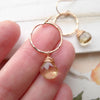 Champagne Citrine Hammered Hoop Dangle Earrings Rose Gold