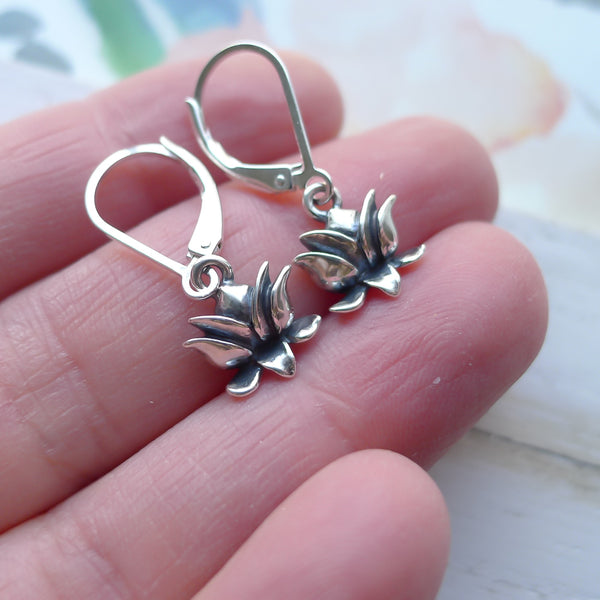 Lotus Flower Leverback Earrings