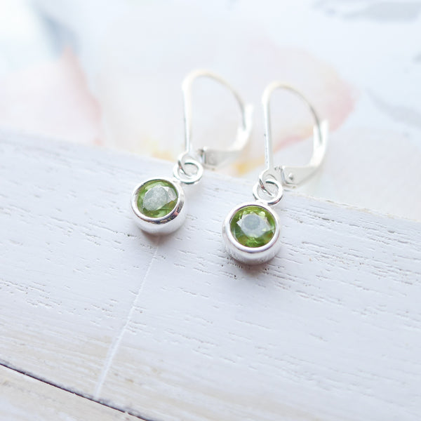 Peridot Earrings Sterling Silver Leverbacks