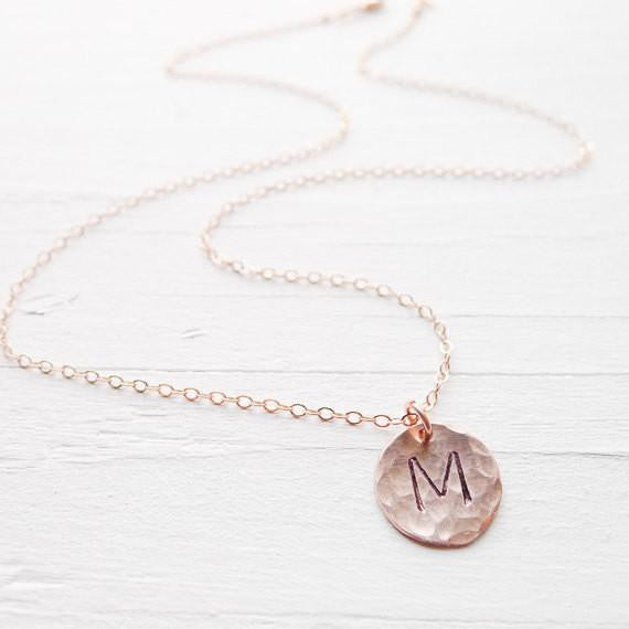 Hammered Initial Necklace {Silver, Gold, or Rose Gold}