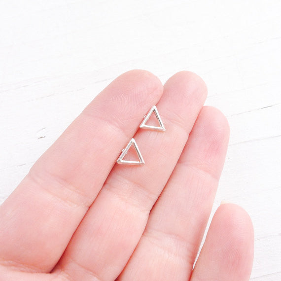 Open Triangle Stud Earrings