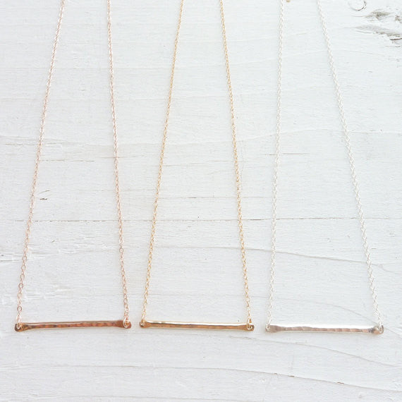 Trapeze Necklace in Silver Gold or Rose Gold
