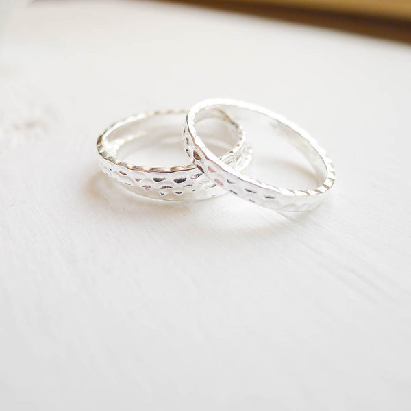 Size 6 Silver Hammered Ring 2.5mm (RHSR326)