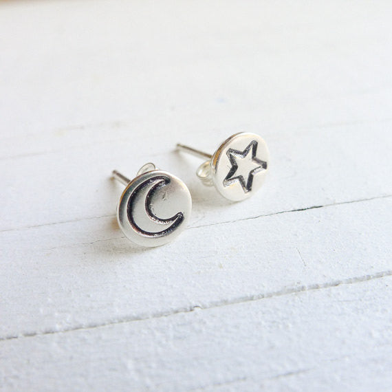 Moon Star Mismatch Stud Earrings