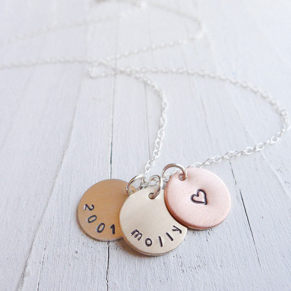 Mixed Metal Mini Mom Necklace - Petite Trio with Names