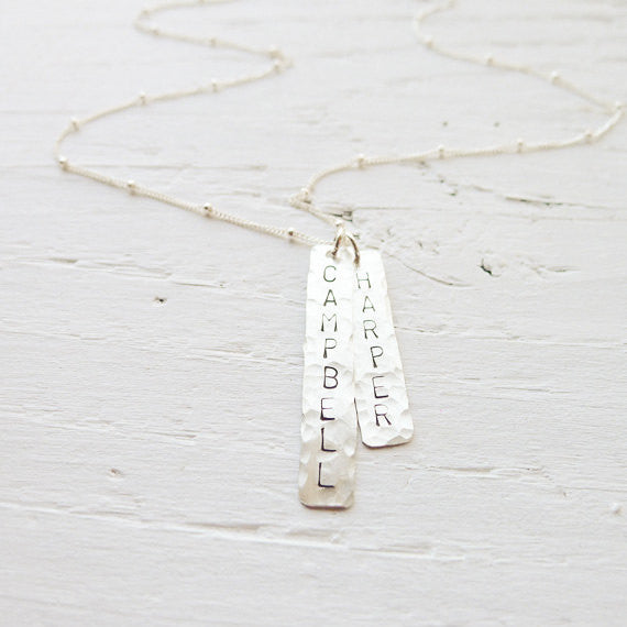 Modern Mom Necklace Hammered Name Plate Charms {Silver, Gold, or Rose Gold}