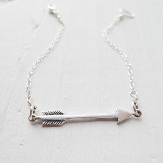Sterling Silver Arrow Bracelet - Shot Through the Heart
