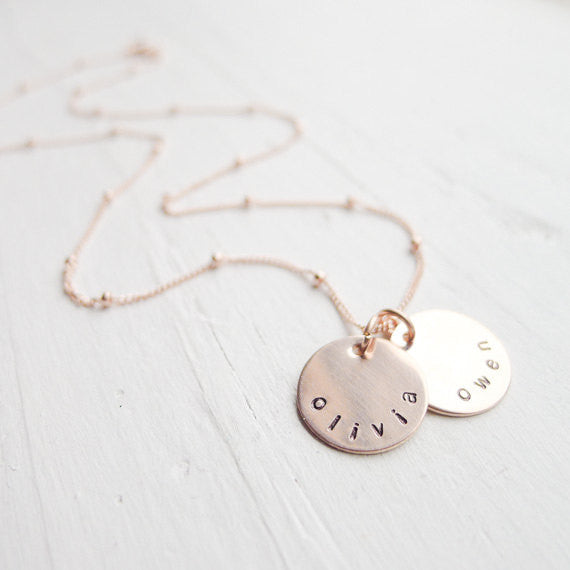 Rose Gold Mini Mom Necklace