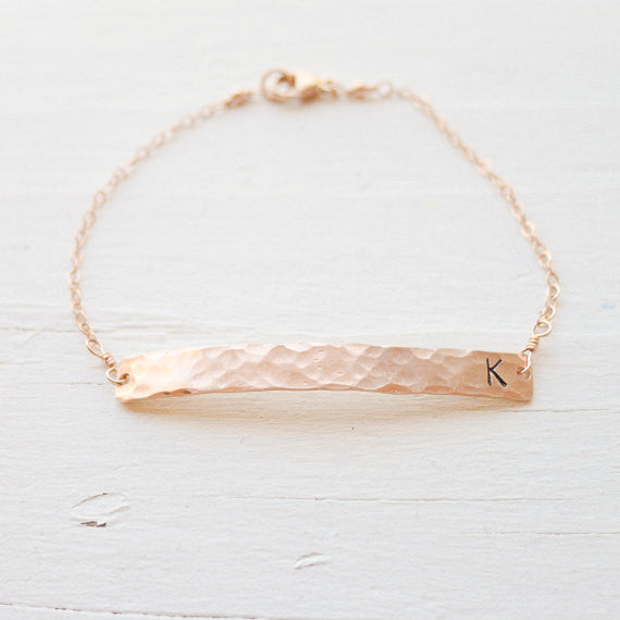 Rose Gold Skinny Hammered Bar Initial Bracelet