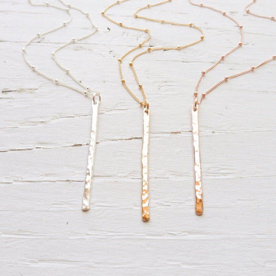 Long Bar Necklace Beaded Necklace {Silver, Gold, or Rose Gold}