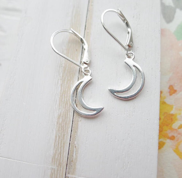 Moon Leverback Earrings in Sterling Silver