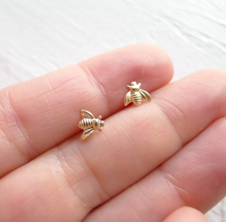 Tiny Bee Studs {silver or gold}