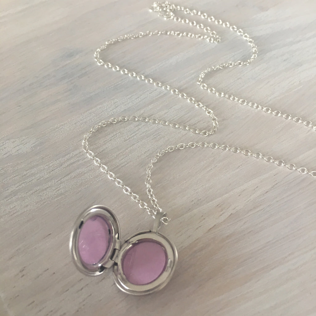 Brushed Silver Locket Necklace