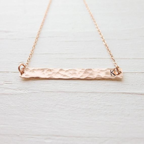 Hammered Bar Initial Necklace {Silver, Gold, or Rose Gold}