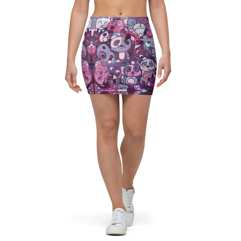 Purple Panda Mini Skirt