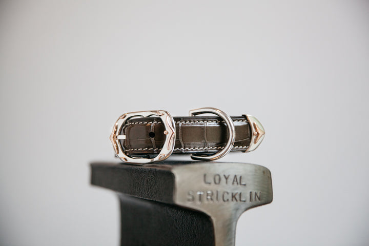 Graphite Alligator Collar with Sterling Silver and Rose Gold Buckle Set