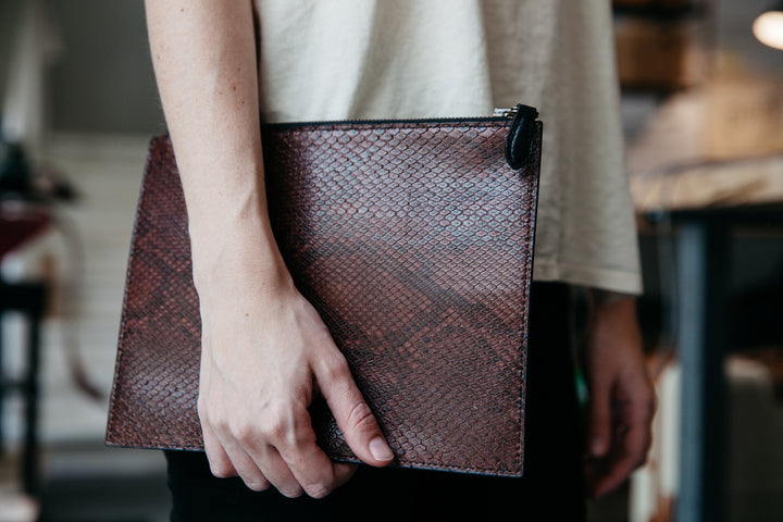 Loyal Bespoke: Python and Chevre Leather Clutch