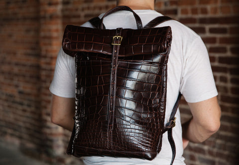 Loyal stricklin leather alligator leather ruck sack backpack
