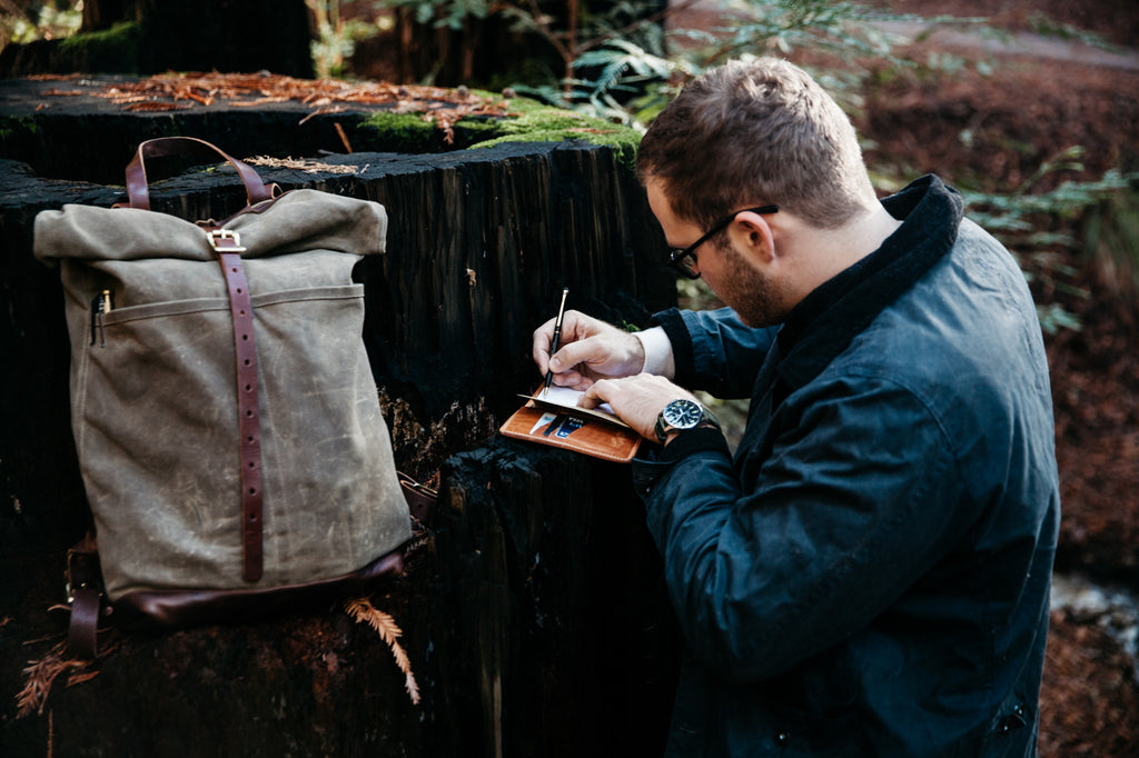 Loyal Stricklin Waxed Canvas Backpack Rucksack in Field Tan / Moss