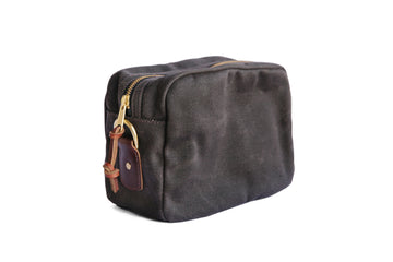 Brown Waxed Canvas and leather men's dopp kit. handmade with solid brass hardware and rust-proof ykk zipper