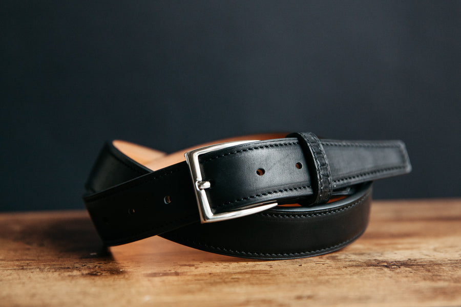 Horween Essex, harness leather and alligator leather dress belt made by loyal bespoke in nashville tennessee