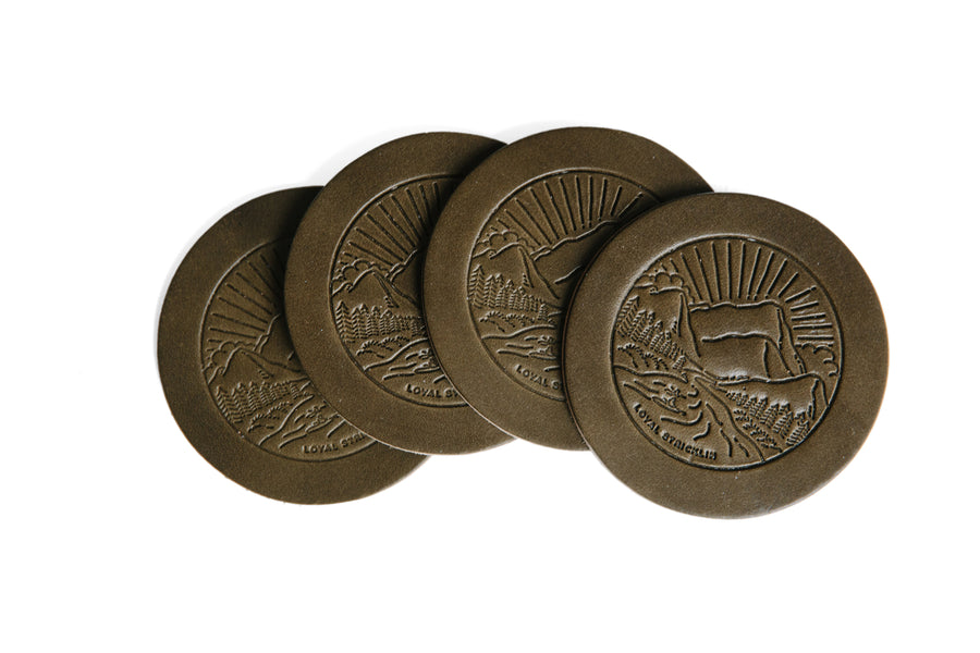 Landscape Leather Coasters - Olive