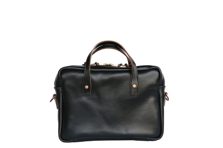 Horween Black Chromexcel Leather Men's Briefcase. Handmade in Nashville TN with leather strap.
