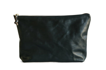 Horween Black essex leather dopp kit, women's make up bag and pencil pouch. handmade Leather goods in Nashville tennessee