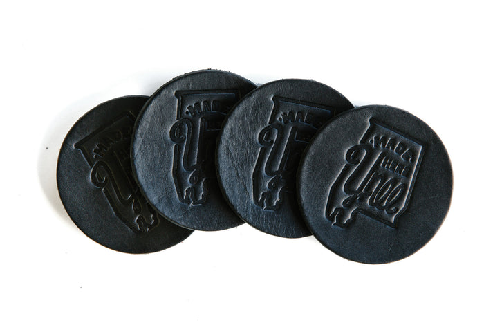 Made Here Y'all Leather Coasters - Black