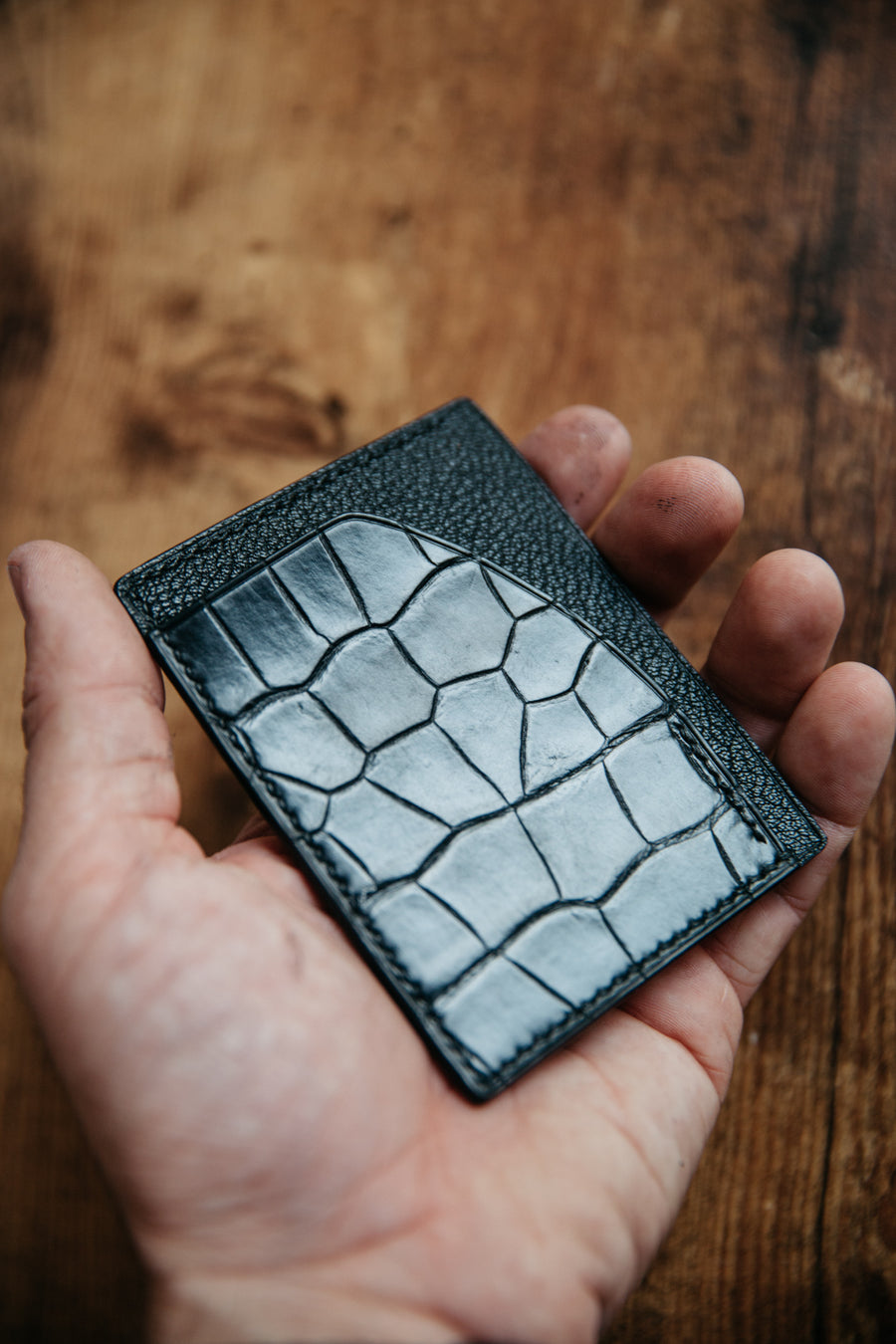 Black alligator leather and french chevré card wallet. handmade in nashville tn