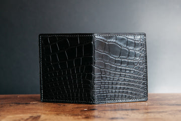 Vertical Card Wallet - Black Alligator / Dark Taupe Chévre