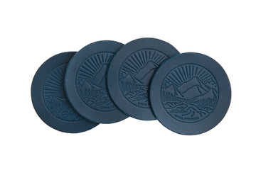 Landscape Leather Coasters - Blue Italian Leather