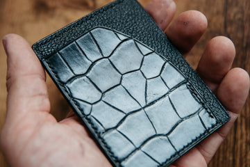 Card Wallet - Black American Alligator and French Chévre