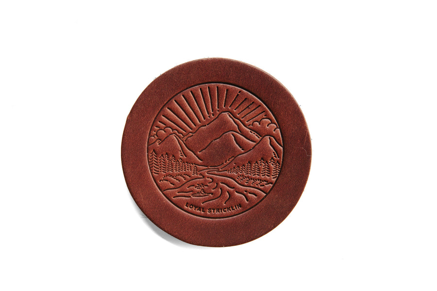 Landscape Leather Coasters - Bark