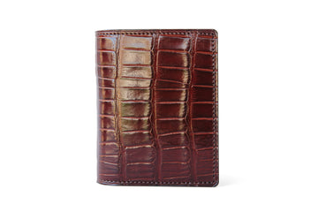 Vertical Card Wallet - Bourbon Alligator - Tail Cut