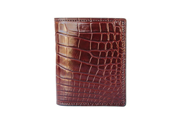 Vertical Card Wallet - Bourbon Alligator - Lower Belly Cut