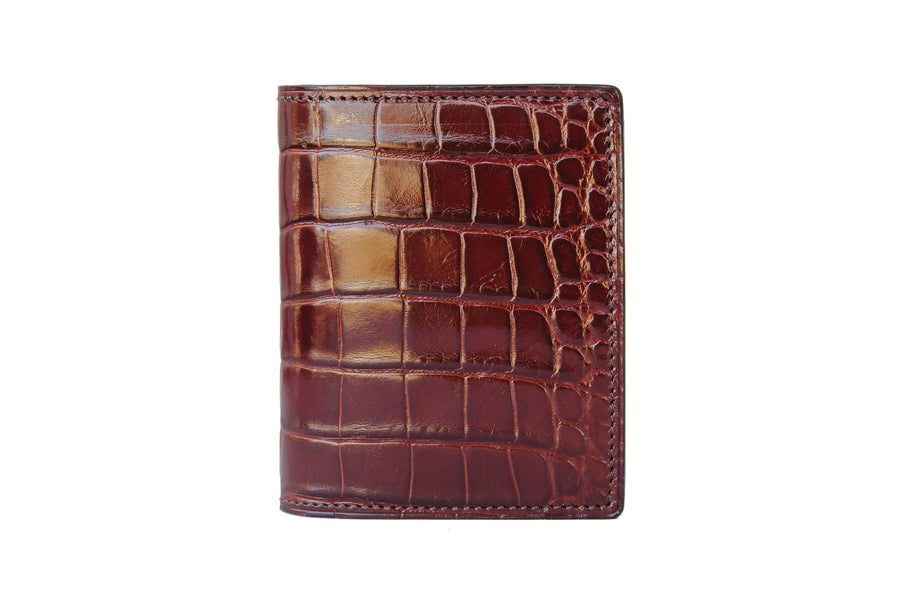 Vertical Card Wallet - Bourbon Alligator - Upper Belly Cut