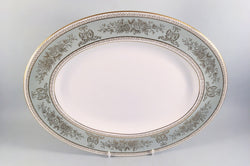 "Wedgwood - Columbia - Sage Green & Gold - Oval Platter - 13 3/4"" - The China Village"