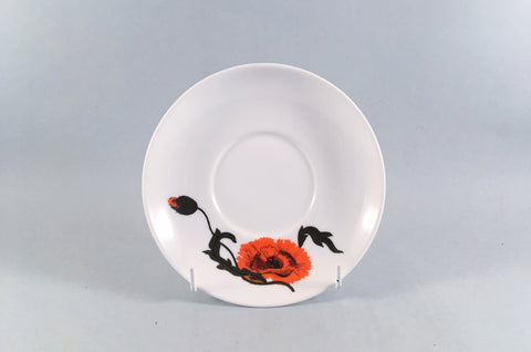 "Wedgwood - Cornpoppy - Susie Cooper - Tea Saucer - 5 3/4"" - The China Village"