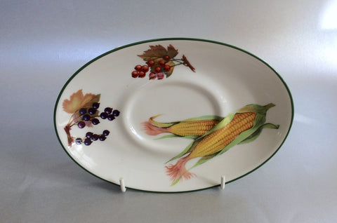 "Royal Worcester - Evesham Vale - Sauce Boat Stand - 7 1/2"" (Sweetcorn, Blackcurrants, Redcurrants) - The China Village"