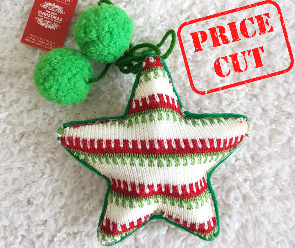 13'' Green Red Knitted Christmas Star Ornaments