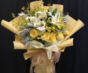White Lily & Yellow Roses | Hand Bouquet | October Flower Of The Month