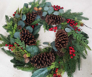 24'' Garland with Pine Cone, Red Berry and Mixed Leaves