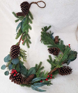 72'' Mixed Leaves/Berry Garland