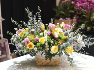 Sunday Yellow Flower Basket | Flower Basket